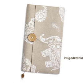book sleeve with paisley elephants pattern