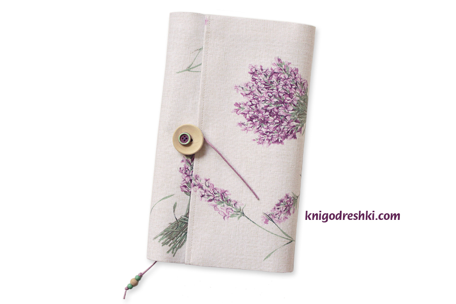 book sleeve with lavender pattern